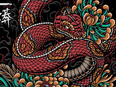 Oriental Snake clothing artwork culture dotwork pointillism tattoo traditional merchandise teedesign bodilpunk illustration drawing