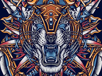 The Warrior esports dota2 tiger skull indonesia mythology apparel character design culture pointillism traditional clothing artwork tattoo merchandise teedesign bodilpunk illustration drawing