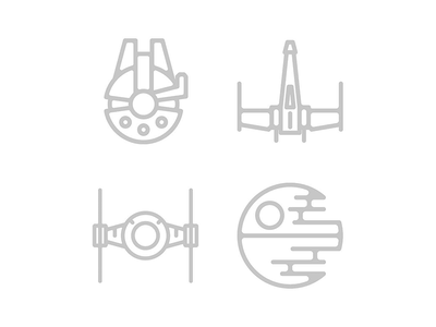 Star Wars + Icons = AWESOME millennium falcon x wing tie fighter death star design icons star wars