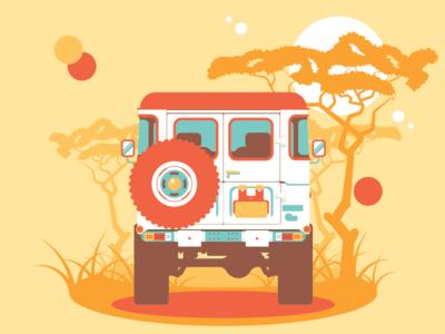 Safari Road Trip sun wheel illustration grass bumper car truck trees africa safari suv