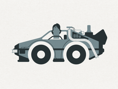 Great Scott time travel marty mcfly 2 color minimal car back to the future