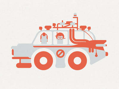 Who You Gonna Call? ghost ecto 1 2 color minimal car ghostbusters
