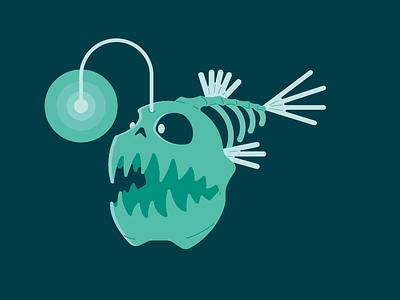 30 Minute Challenge (Sea Creature) light dark ocean sea swim skull skeleton fish
