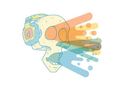 Feel the Music headphones minimal color skull music