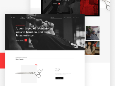 H&H Homepage homepage web design website barber scissors minimal shop ecommerce