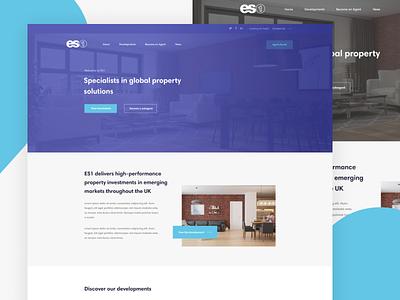 ES1 Property Homepage website minimal.web purple property homepage ux ui clean