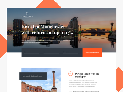 Signature Mills campaign landing page web investor investments property manchester hotel ux ui
