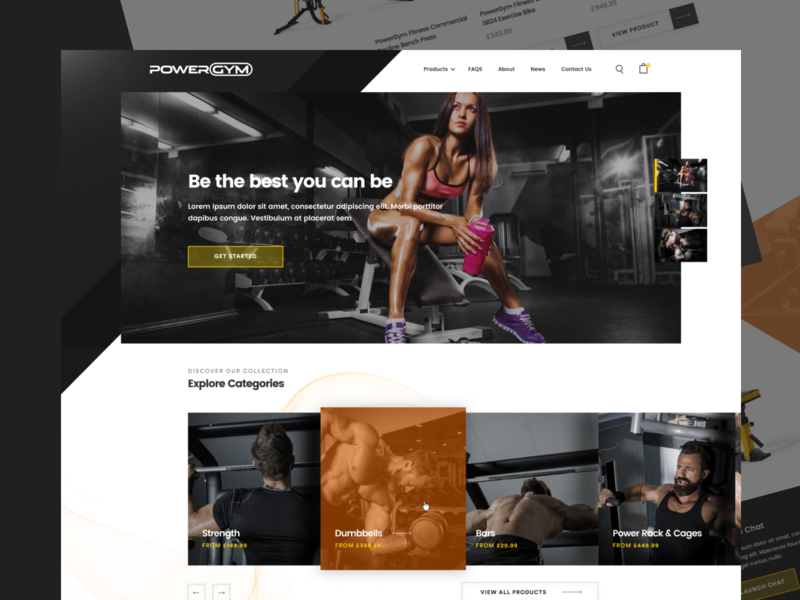 PowerGym Homepage fitness gym agency web design ecommerce concept clean web ux ui