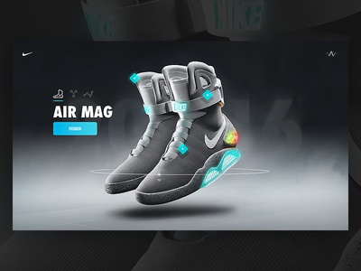 Nike Air Mag - Microsite Entry shoes motion power laces back to the future power lights compare sneaker interaction ui  ux microsite air mag nike