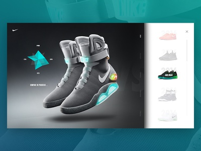 Nike Air Mag - Compare shoes power laces back to the future power lights compare sneaker interaction ui ux assets microsite air mag nike