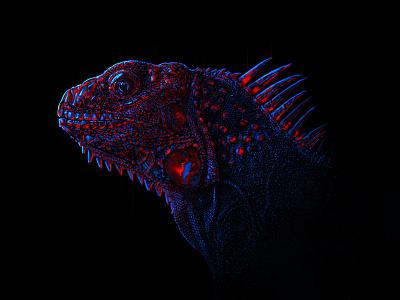 Neon Lizard color lines lizard dark glow candy lights neon