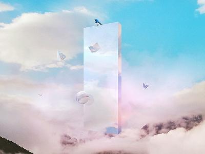 Air Fragment sky butterfly geometry free breath bird cloud glass fragment air