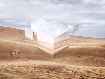 Earth Fragment geometry clouds elevation float wolf sand desert reflection glass fragment earth