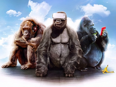 Three Wise Monkeys three wise monkeys visual concept funny banana headphones music mobile vr monkey