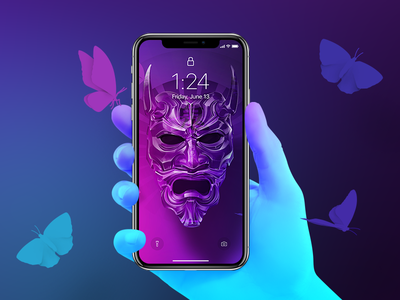 Oni - 4K Wallpaper uhd 4k samsung hand iphone oni mask butterfly lights freebie wallpaper