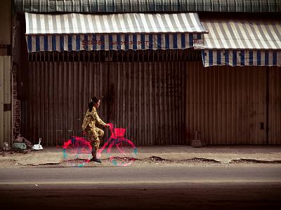 Glitches Everywhere - Bike photoshop urban street pink candy opacity effect asia women bike glitches glitch