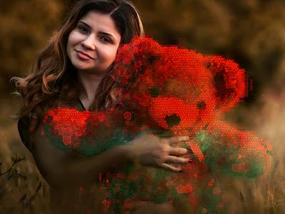 Girl With Tedy experimental surreal digital glitch girl teddybear