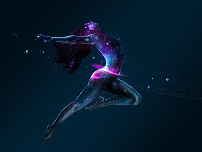 Dance of the Planets: Uranus galaxy body female women nebula ballet scifi atmosphere planets dance uranus