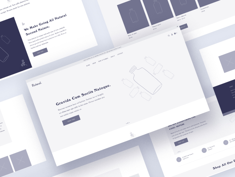 Natural wireframe theme product natural products website minimal homepage layout wireframe soap ux ui design shopify theme shopify plus shopify