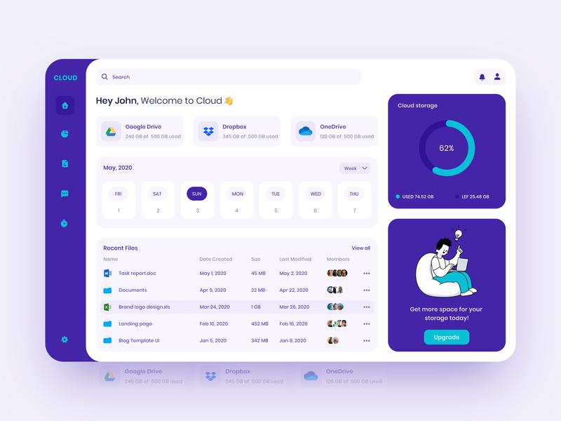 Cloud Dashboard chart server management online figma branding product storage webapp upload folder report drive animation ui illustration cloud