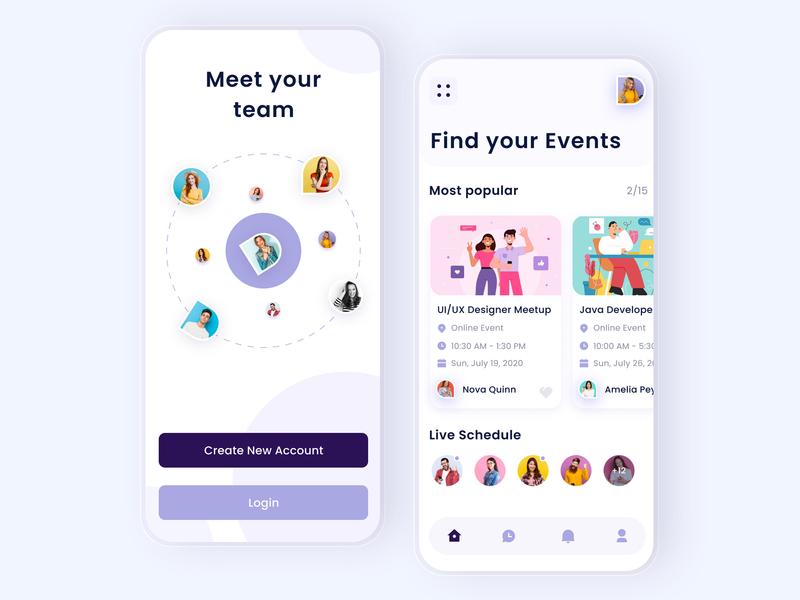 Event App Concept user inteface interaction product design mimimal online education online courses mobile ios ux ui illustration event app