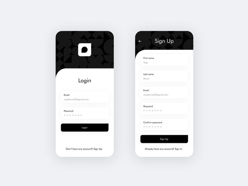 Sign up / Login UI mobile app ios sign in fintech minimal logo animation interaction illustration ui login
