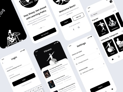 Blog app illustration interaction animation modern interface ui  ux product design mobileapp branding user interface art blog post reading app article blog