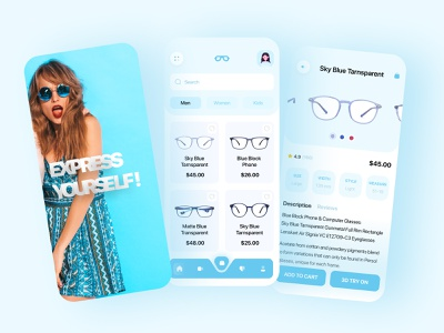 Sunglasses app clean user experience userinterface blue buy product color icon typography ui minimal animation interaction branding ios app ios app