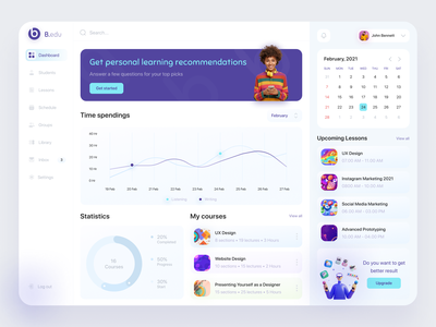 E-learning dashboard figma ios app school product learning management system learning platform course education ui trend online learning uidesign dashboard