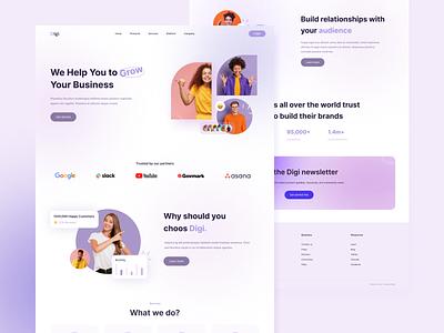Digi Marketing Landing Page advertising digital marketing services minimal agency team website online marketing seo marketing agency business design branding interaction homepage