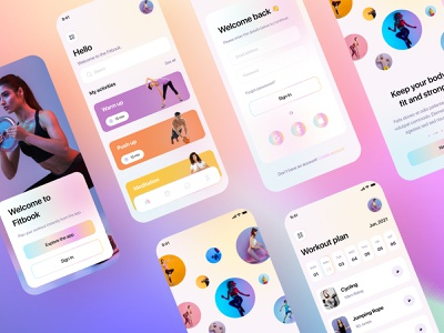 Fitbook app coaching ios app fitness club tracking business clean ui branding interaction userinterface app health workout gym fitness app