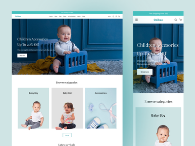 Odibee Kids - Ecommerce Website Design uitrend agency baby clothes branding interaction uiux responsive design landing page fashion shopping shop kidsstore homepage ecommerce shop shopify