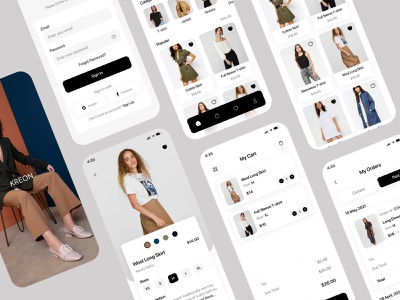 KREON Shopping App login interface cart ux 2021 trend interaction mobileappdesign store shop payment products shopify iosapp clothing shopping app branding