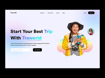Traworld - Travel Landing Page Concept business minimal travel app webdesign travel guide branding tourist vacation travel agency trip planner tour design interaction uiux travel