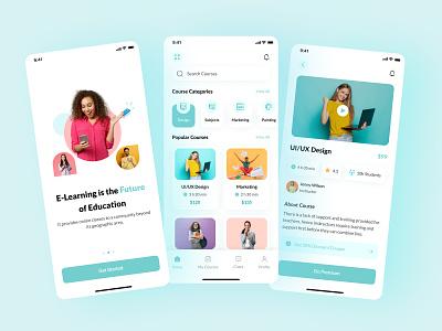 Online Learning Platform App apps study school onlineeducation education illustration courses course app branding ui interaction ios