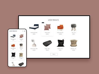 Furniture Theme animation illustration design ux ui xd shopify e-commerce wireframe design interior furniture minimal styles theme