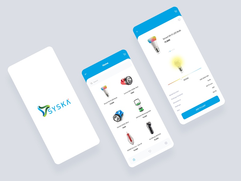 Syska App UI personal-care home appliances branding ui app design bulb light ux interaction animation ios syska