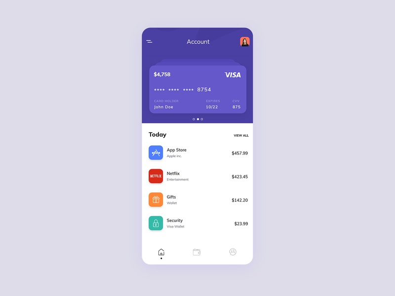 Finance & Banking App animation interaction xd ios menu login credit card money expenses transactions uiux ui finance app banking app banking analitycs
