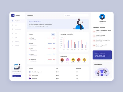 Study dashboard ui students software crm branding design interaction illustration animation app school learning dashboad education study