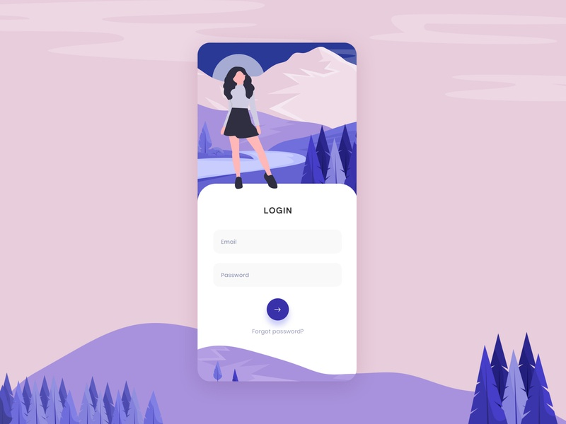 Login flow rigister account signup login branding typography app ui vector illustration interaction animation ios