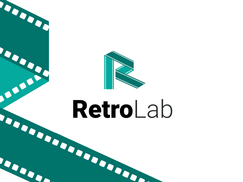 RetroLab - Early branding idea lab instagram icon symbol logo design retro ecce media green branding logo film