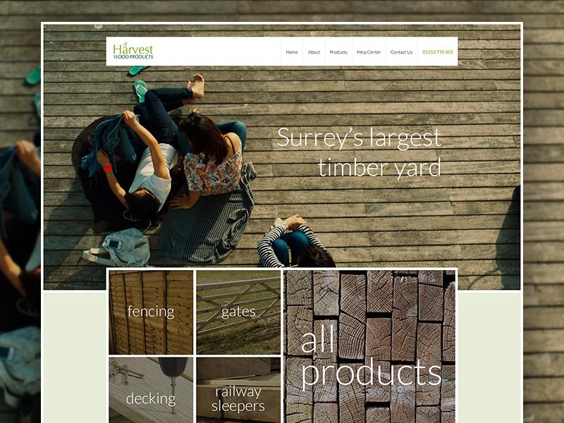 Harvest Woods - Desktop brown green wood timber eccemedia ux ui responsive design wordpress website cms