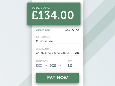 Daily UI #002 - Credit Card Checkout credit card payment ecommerce sign up ui ux form web app eccemedia download daily ui