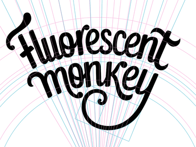 Fluorescent Monkey, process view custom type logo typography logo