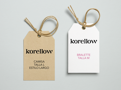 Korellow Tag clothing tag logo design fashion clothing tropical design didone typography logotype