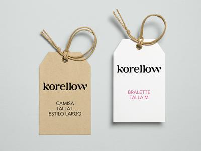 Korellow Tag clothing tag logo design fashion clothing tropical design didone typography logotype