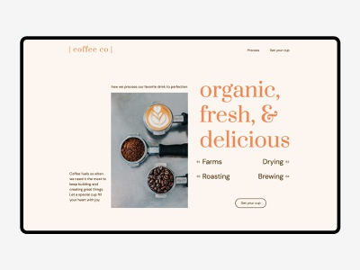 Landing Page Design — Coffee Co coffee web design ui landing page homepage branding