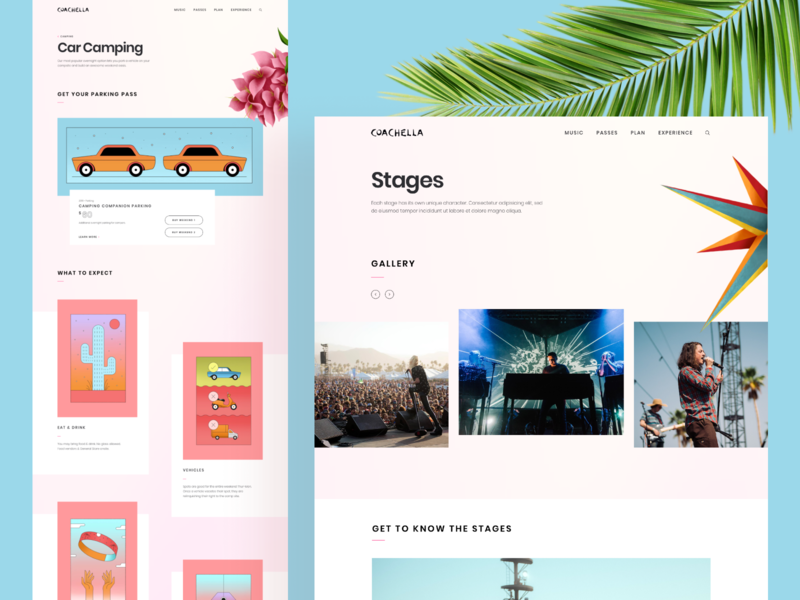 Coachella Website 2019 illustration event page festival music event coachella ui ux design layout website web