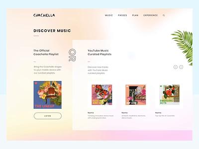 Coachella Website Menu menu design web website ux ui experience dropdown discover gradient hover interaction motion animations navigation