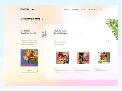 Coachella Website Menu menu design web website ux ui experience dropdown discover gradient hover interaction motion animations navigation